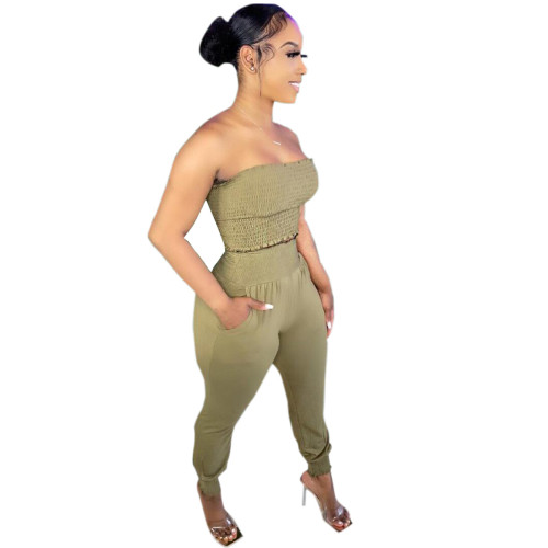 Army green Women's solid color craft tube top casual suit