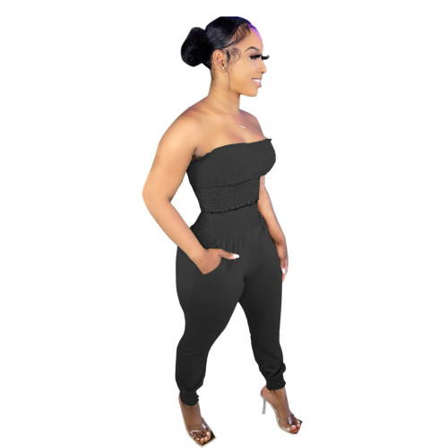 Black Women's solid color craft tube top casual suit