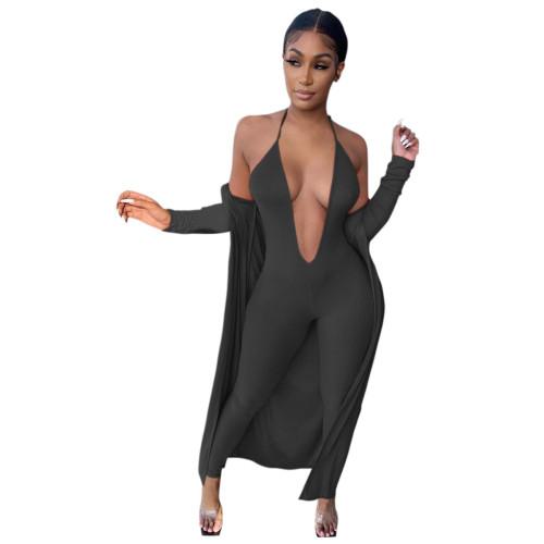 Black Women's Sexy Sling Deep V Jumpsuit + Long Sleeve Ribbed Jacket Set