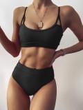 Solid color split swimsuit sexy bikini bikini