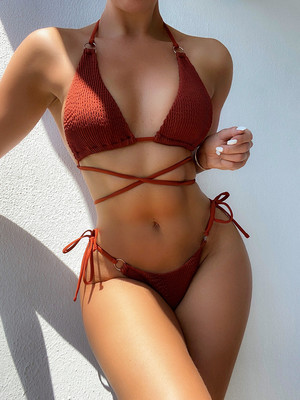 Coffee color  Bikini solid color sexy bikini ladies split swimsuit triangle bikini