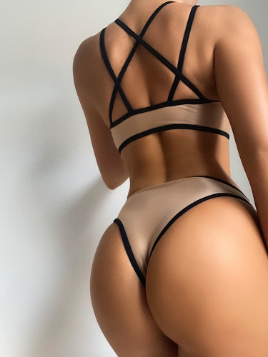 Khaki Ladies solid color bandage split swimsuit sexy bikini bikini