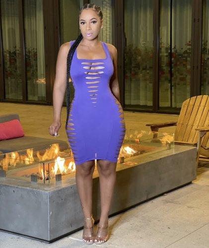 Light purple Sexy women's solid color burnt flower vest dress