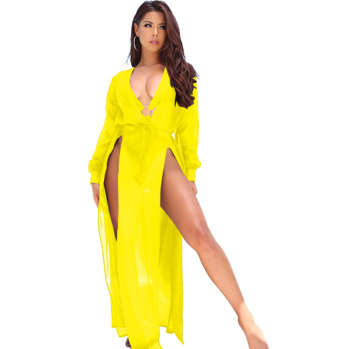 Yellow   Spring and summer European and American chiffon dress