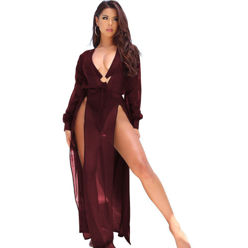 Red wine  Spring and summer European and American chiffon dress