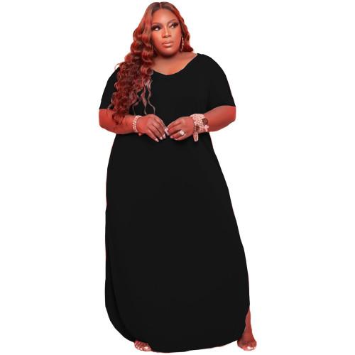 Black Large size solid color loose dress