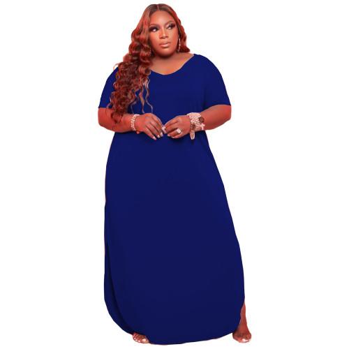 Bule Large size solid color loose dress