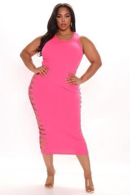 Solid color burnt flower round neck plus size dress