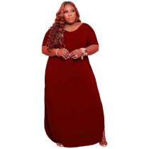 Large size solid color loose dress