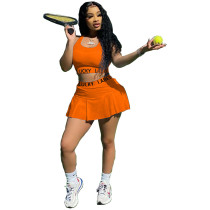 Orange Letter print slim sports tank top and culottes two-piece suit