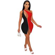 Black Color matching double zipper sexy nightclub style dress