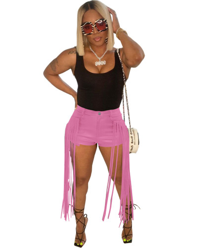 Pink PU leather pants and fringed shorts