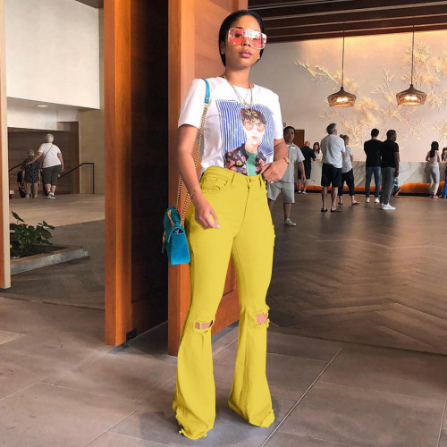 Yellow Cotton high stretch fabric ripped jeans