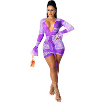 Purple Sexy tight-fitting deep V-neck print flared long-sleeved smocked dress