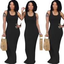 Black Pure color sexy women's vest long skirt, fashion U-neck dress, simple personality, hip skirt