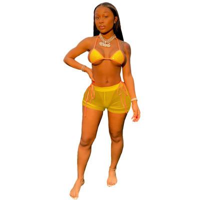 Yellow  Hot diamond sexy mesh beach bikini suit