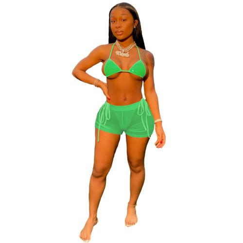 Green  Hot diamond sexy mesh beach bikini suit