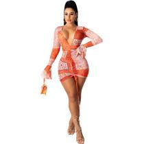 Orange Sexy tight-fitting deep V-neck print flared long-sleeved smocked dress