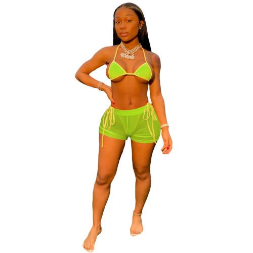 Fluorescent green   Hot diamond sexy mesh beach bikini suit