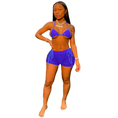 Sapphire   Hot diamond sexy mesh beach bikini suit