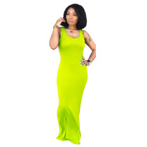 Yellow Pure color sexy women's vest long skirt, fashion U-neck dress, simple personality, hip skirt