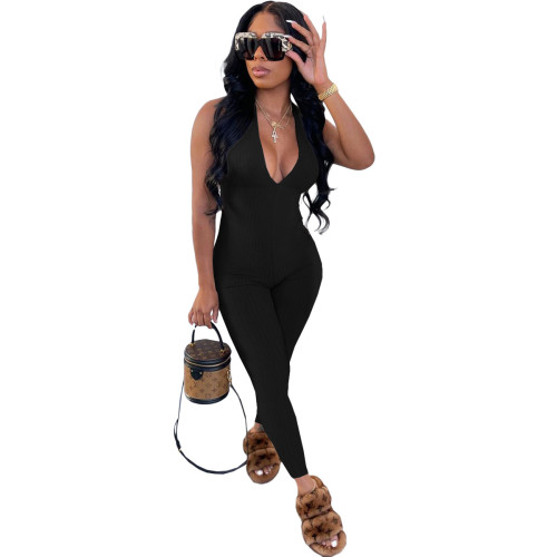 Black Beautiful women's clothing pit strips wrapped chest strap jumpsuit trousers