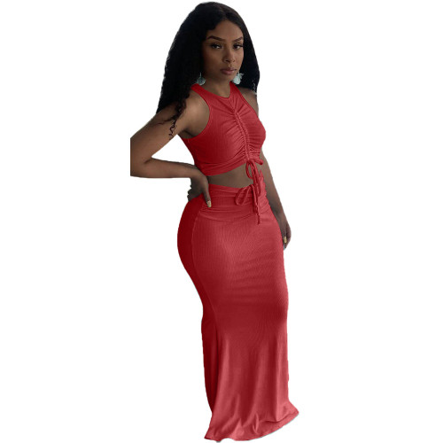Red Pit stripe pleated mopping long skirt two-piece suit