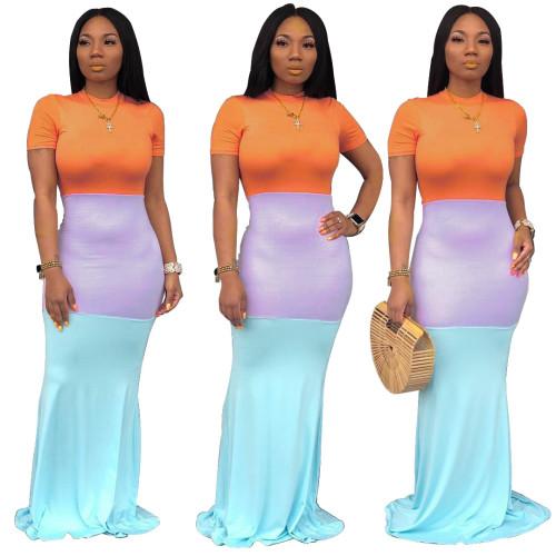 Fashion casual short-sleeved stitching dress