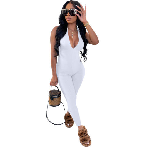 White  Beautiful women's clothing pit strips wrapped chest strap jumpsuit trousers