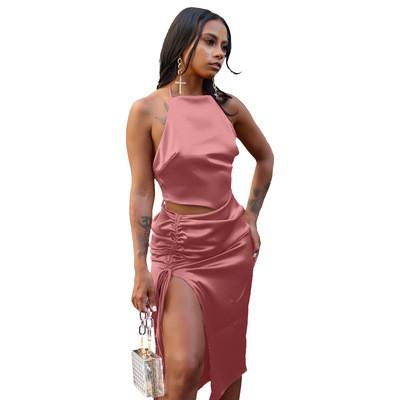 Pink  Top slit pleated skirt suit