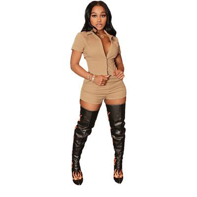Khaki  Women's clothing linen material shirt shorts two-piece suit