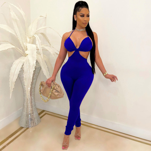 Bule Fashion sexy suspenders solid color casual jumpsuit