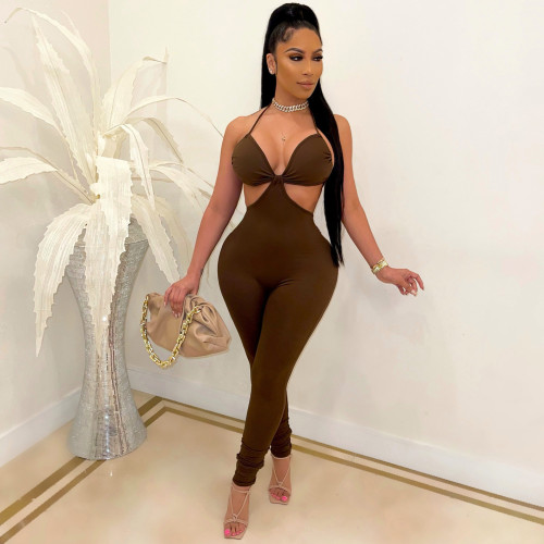 Brown Fashion sexy suspenders solid color casual jumpsuit