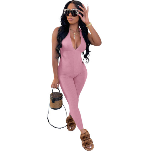 Pink Beautiful women's clothing pit strips wrapped chest strap jumpsuit trousers