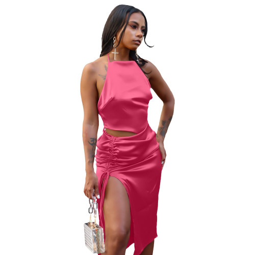 Rose  red   Top slit pleated skirt suit