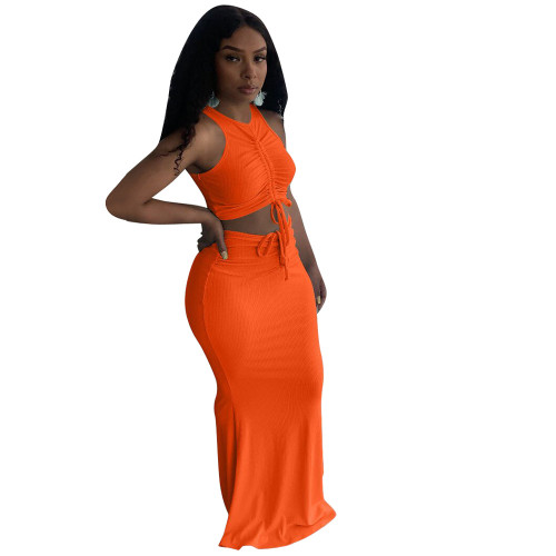 Orange Pit stripe pleated mopping long skirt two-piece suit
