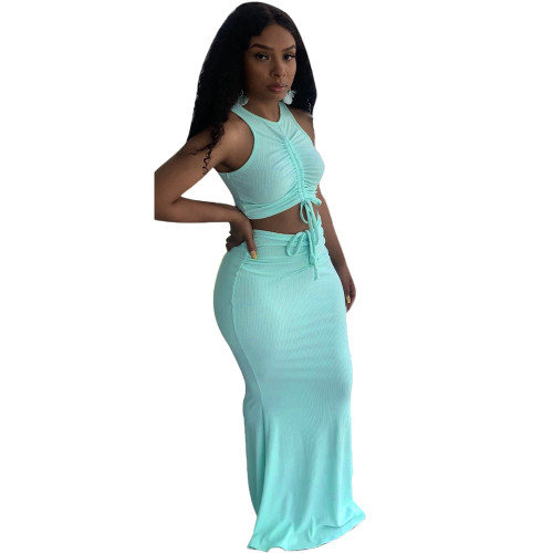 Green Pit stripe pleated mopping long skirt two-piece suit