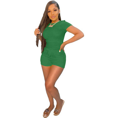 Green Casual sports solid color T-shirt shorts suit