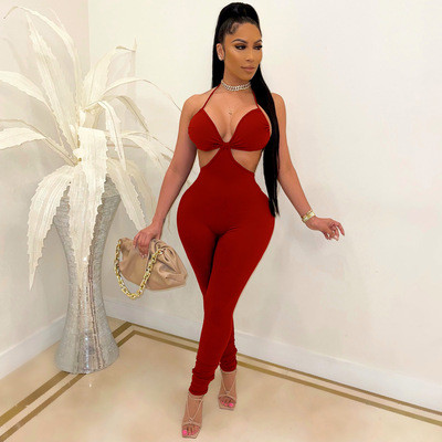 Fashion sexy suspenders solid color casual jumpsuit