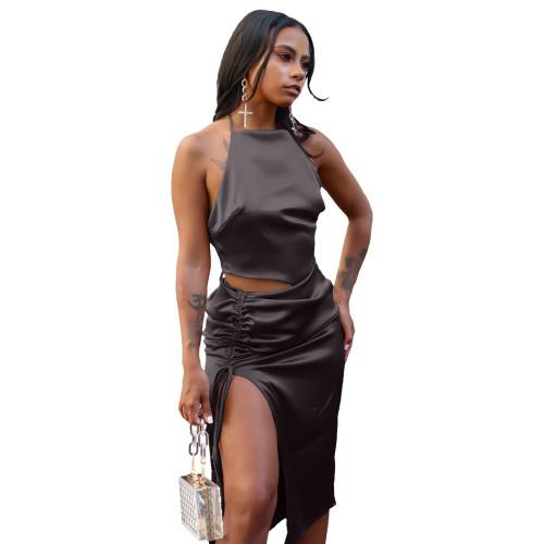 Black Top slit pleated skirt suit