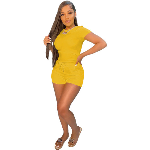 Yellow  Casual sports solid color T-shirt shorts suit