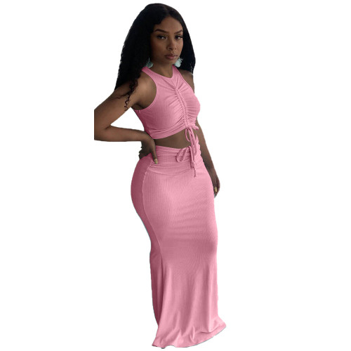 Pink Pit stripe pleated mopping long skirt two-piece suit