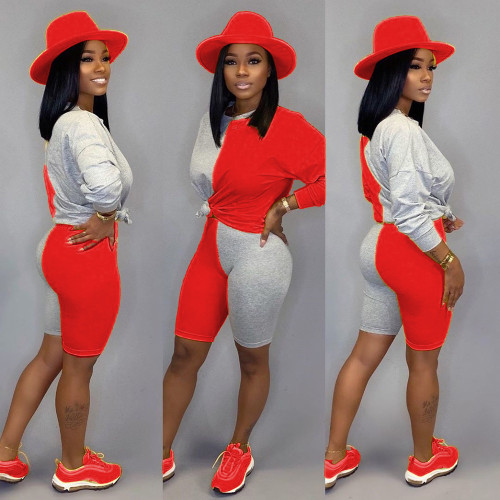 Red Fashion casual contrast color stitching shorts long sleeve suit