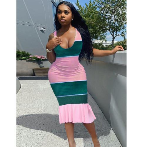 Fashion casual sling positioning printing, chiffon stitching dress