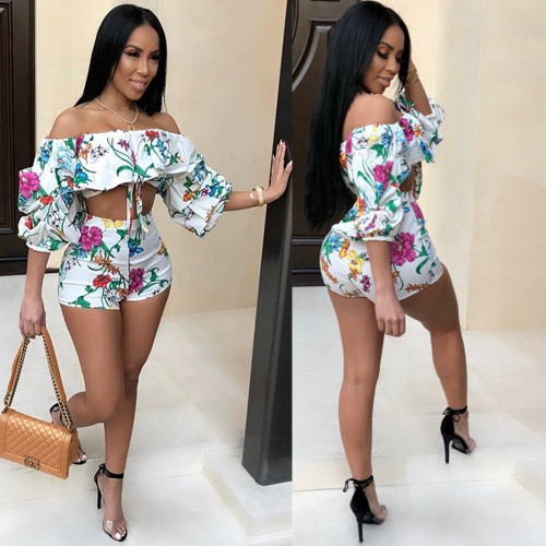 Sexy digital print pile sleeves two-piece suit