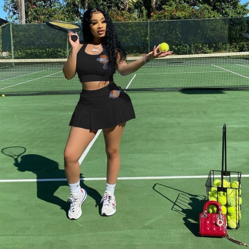 Sexy Women's DKS Letter Personality Embroidered Sports Tennis Suit Pants Skirt