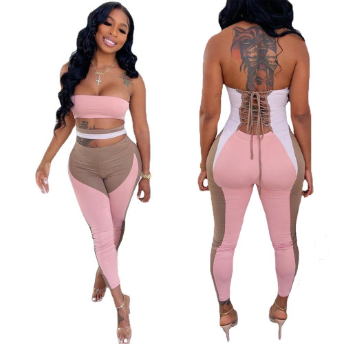 Women's sexy printed bandage, nude waist, tube top jumpsuit