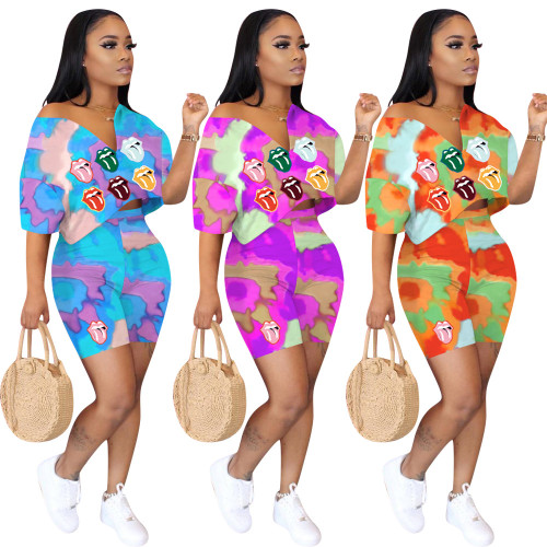 Summer women's clothing tie-dye lips print two-piece casual temperament