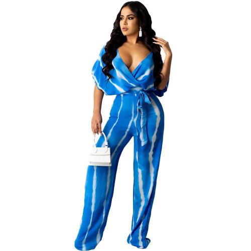 Blue  Ladies Tie Dye Loose V-Neck Wide Leg Pants Two-Piece Set