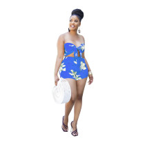 Sexy fashion tube top shorts sleeveless print two-piece suit